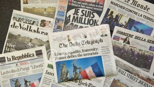 Front pages after the attacks in Paris